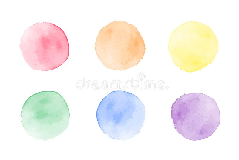 Vector colorful watercolor dots set isolated on white background.  vector illustration