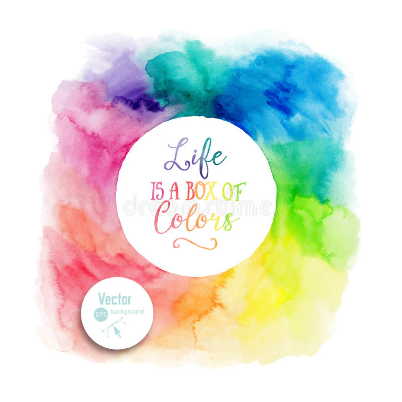 Vector colorful watercolor frame with copyspace for your text. Watercolor background with empty circle frame royalty free illustration