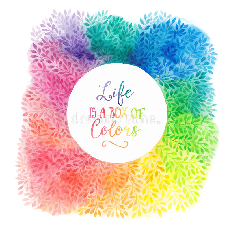 Vector colorful watercolor wreath. Frame with copyspace for your text. Watercolor background with empty circle frame. royalty free illustration