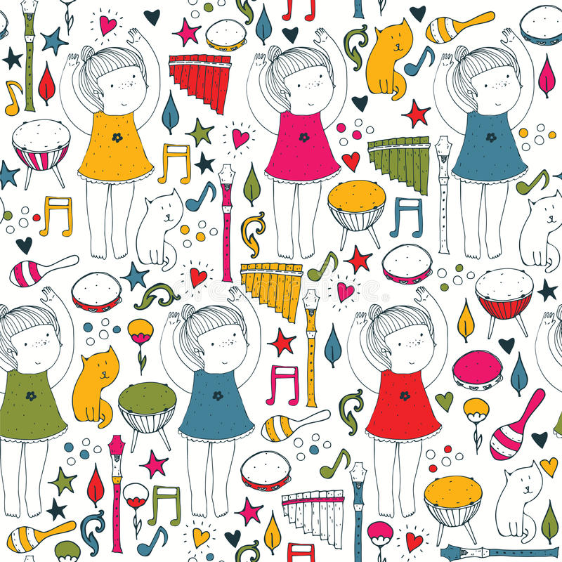 Vector colorful on white seamless illustration with cute dancing girl, musical instruments, cat, flowers, doodle shapes. Square ha royalty free illustration