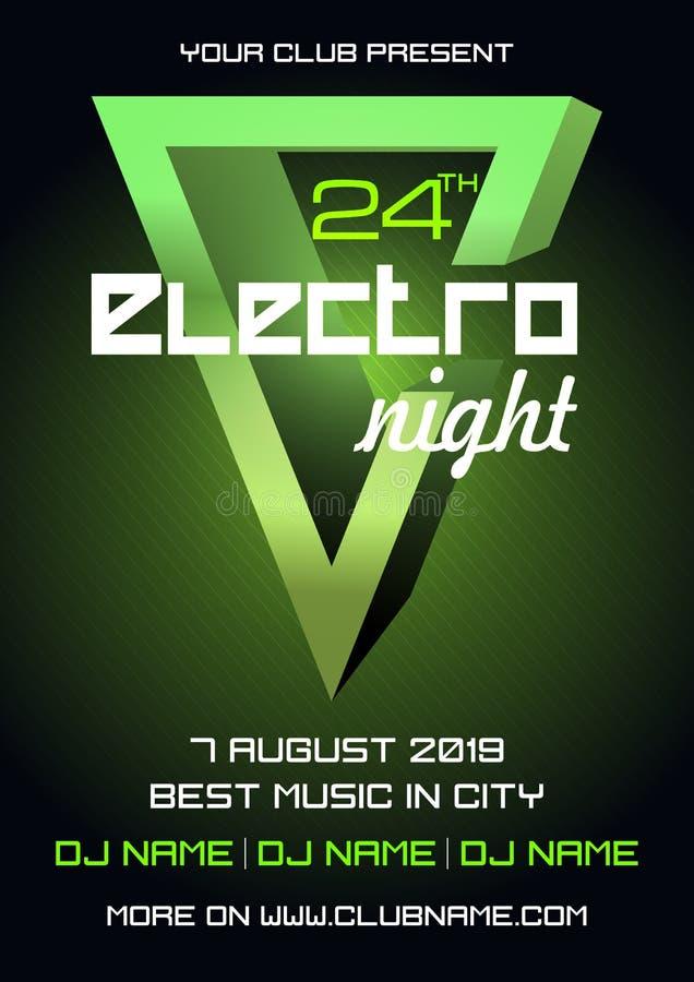 Vector colorido de la plantilla del aviador de la electro noche del partido en color verde con el elemento 3D stock de ilustración