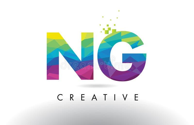 Vector colorido del diseño de los triángulos de la papiroflexia de la letra del NG N G libre illustration