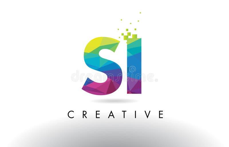 Vector colorido del diseño de los triángulos de la papiroflexia de la letra del SI S I stock de ilustración