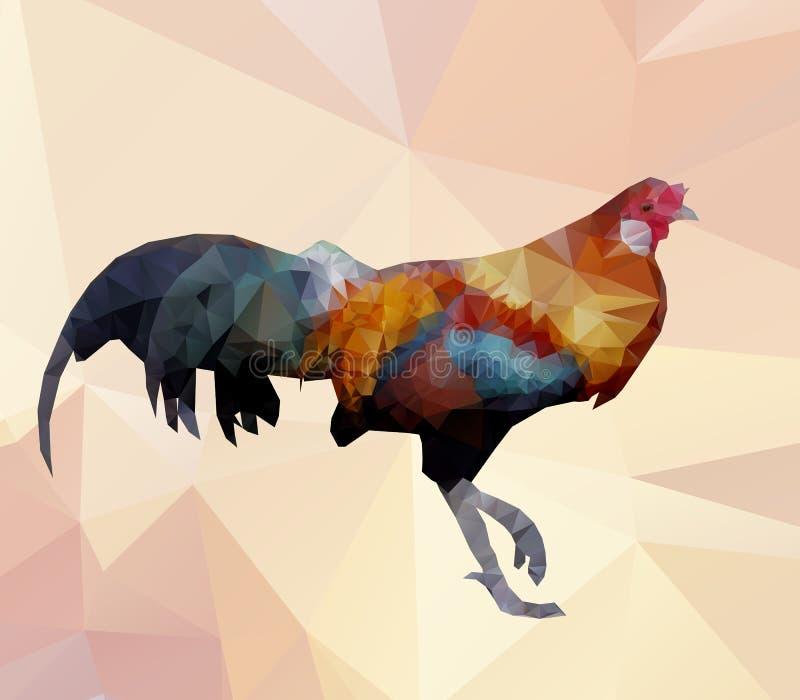 Vector colorido del gallo-polígono ilustración del vector