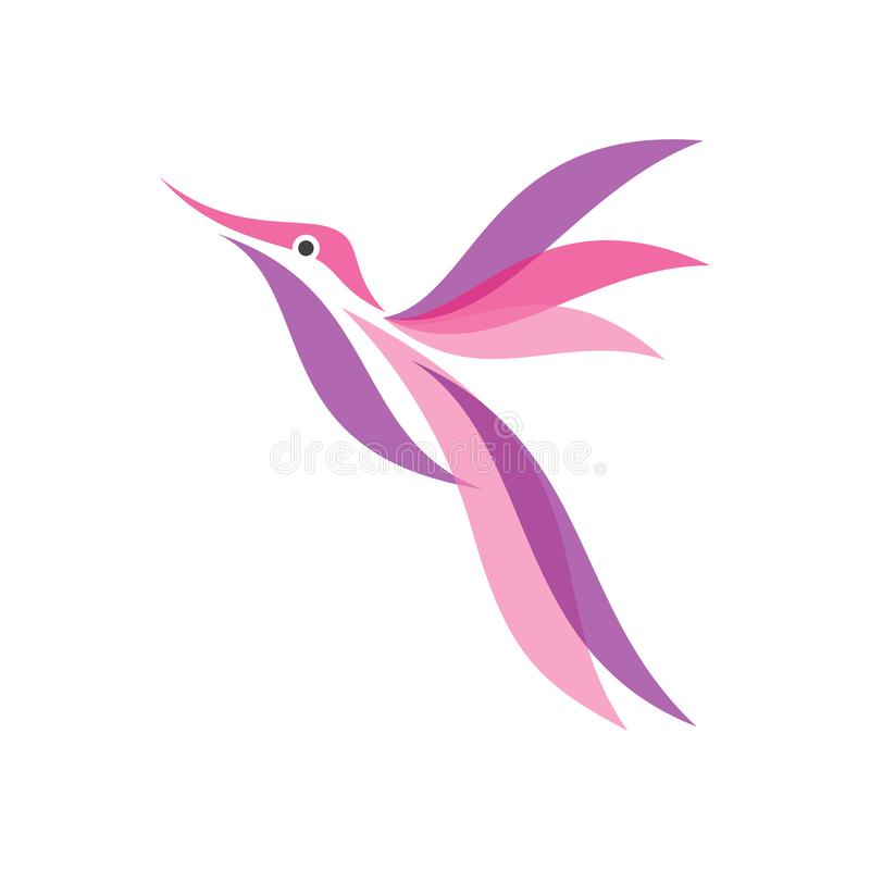 Vector colorido del icono del colibrí en el estilo plano moderno para la web, el gráfico y el diseño móvil ilustración del vector