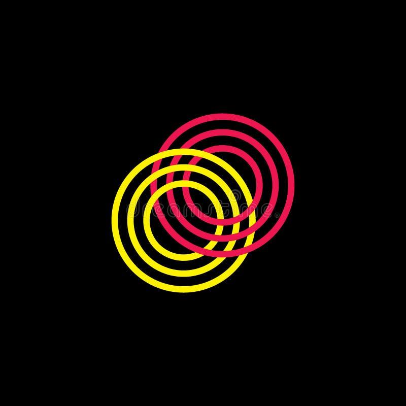 Vector colorido ligado del logotipo de los anillos de las rayas stock de ilustración