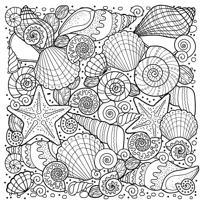 Vector coloring book for adult, for meditation and relax. Backgroun of sell, anchors, shells, stones and sand. Black and white ima vector illustration