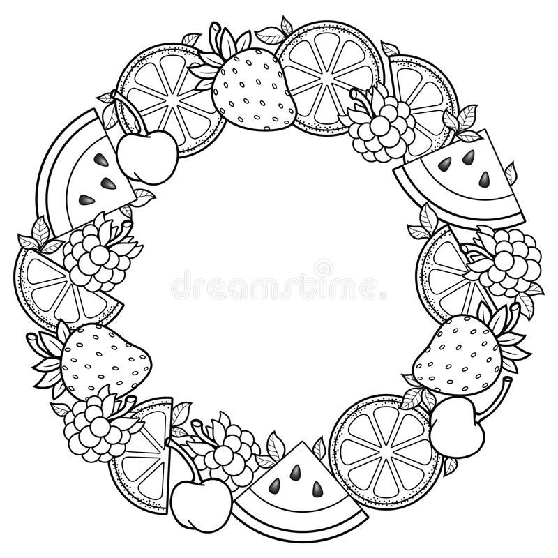Vector coloring book for adult, for meditation and relax. Round shape of watermelon, strawberries, citrus, cherries and strawberri. Round shape of watermelon royalty free illustration