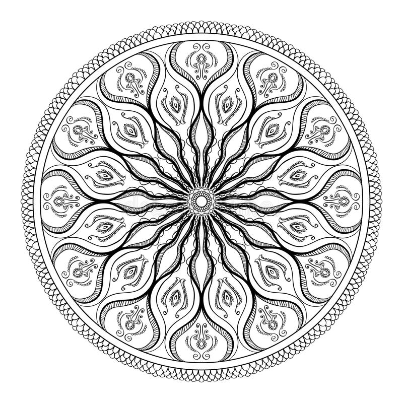 Vector Coloring Book For Adult. Page For Relax And Meditation. Black ...