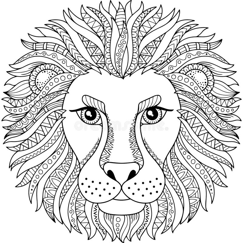 Vector coloring book for adult. Silhouette of lion isolated on white background. Zodiac sign leo. Abstract background animal prinn royalty free illustration
