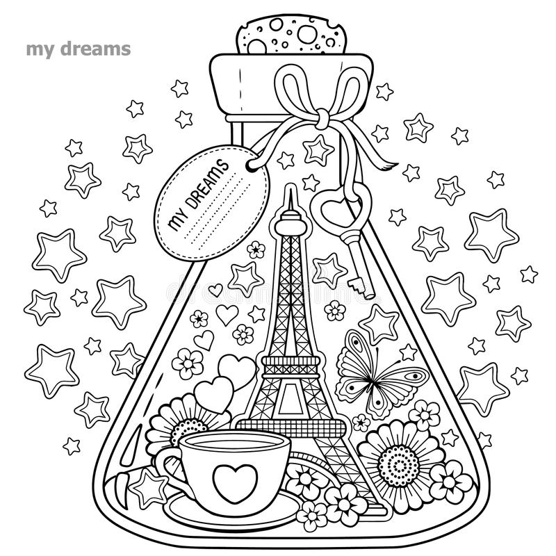 Vector Coloring book for adults. A glass vessel with dreams of traveling to Paris.A bottle with butterfly, ladybug, leaves, cup of vector illustration