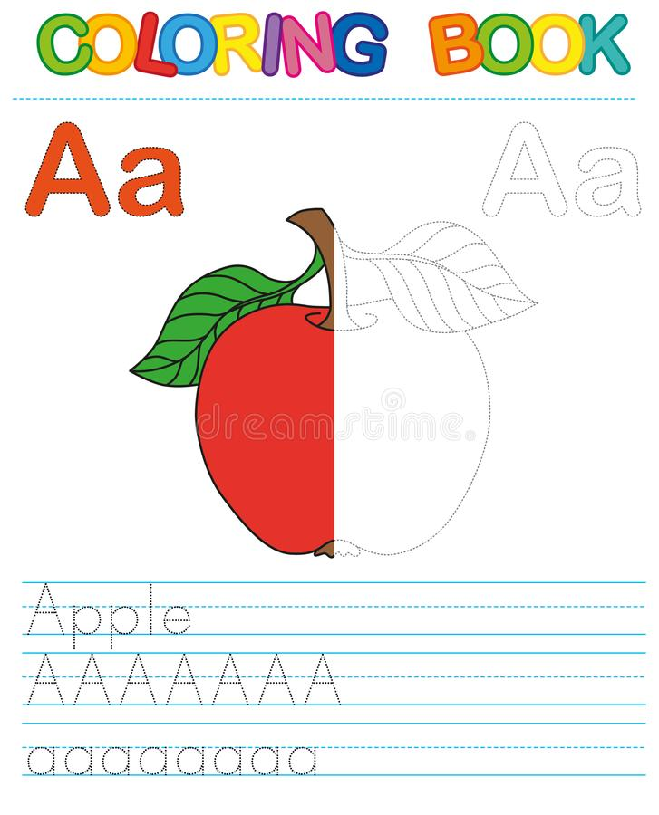 Vector coloring book alphabet. Restore dashed line and color the picture. Letter A. Apple stock illustration