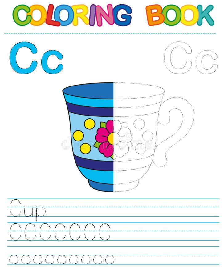 Vector coloring book alphabet. Restore dashed line and color the picture. Letter C. Cup vector illustration