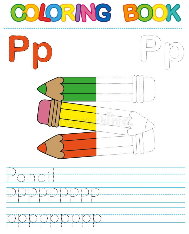 Vector coloring book alphabet. Restore dashed line and color the picture. Letter P. Pencil. Vector coloring book alphabet. Educational game for kid. Simple level stock illustration