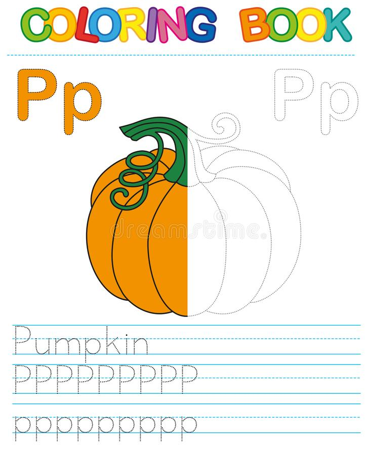 Vector coloring book alphabet. Restore dashed line and color the picture. Letter P. Pumpkin royalty free illustration