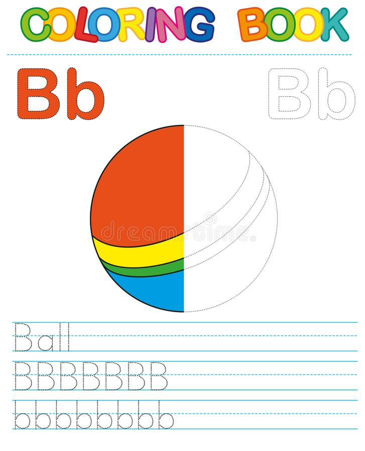 Vector coloring book alphabet. Restore dashed line and color the picture. Letter B. Ball vector illustration