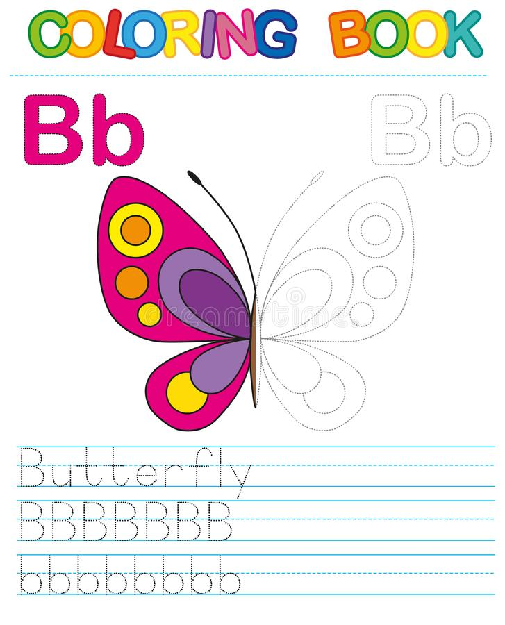 Vector coloring book alphabet. Restore dashed line and color the picture. Letter B. Butterfly royalty free illustration