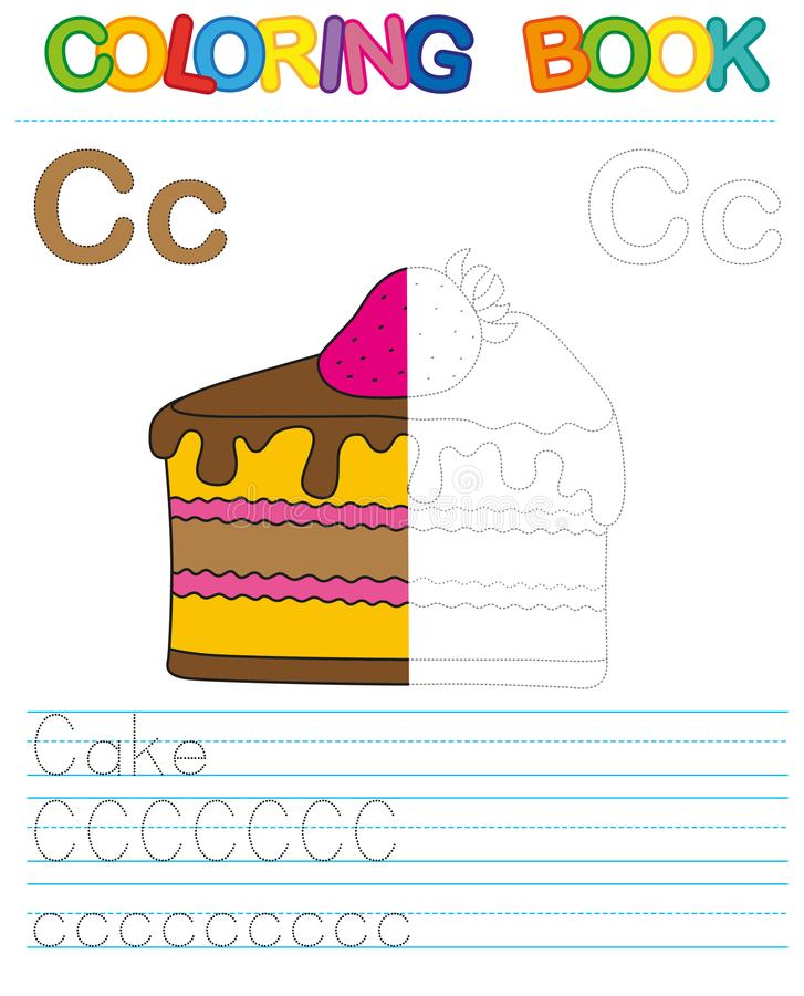 Vector coloring book alphabet. Restore dashed line and color the picture. Letter C. Cake vector illustration