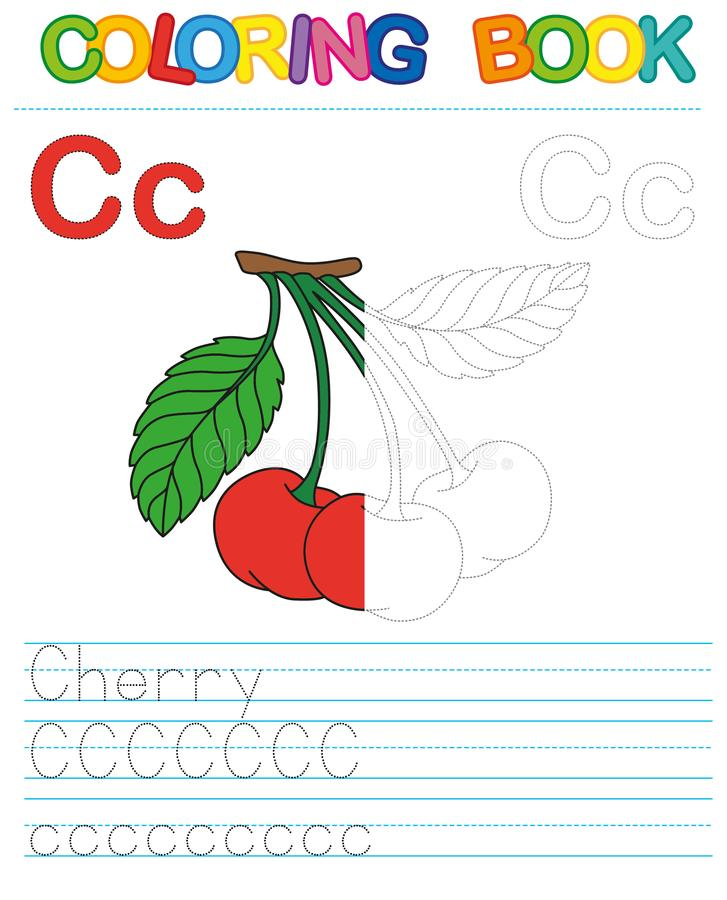 Vector coloring book alphabet. Restore dashed line and color the picture. Letter C. Cherry royalty free illustration