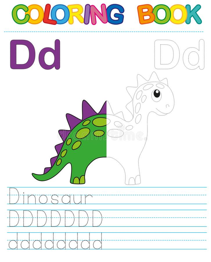 Vector coloring book alphabet. Restore dashed line and color the picture. Letter D. Dinosaur stock illustration