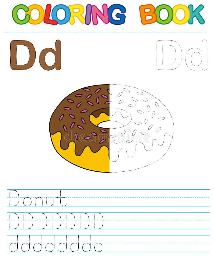 Vector coloring book alphabet. Restore dashed line and color the picture. Letter D. Donut stock illustration