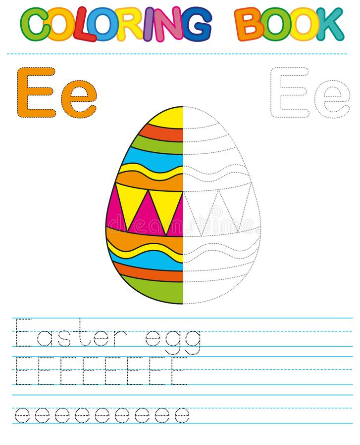 Vector coloring book alphabet. Restore dashed line and color the picture. Letter E. Easter Egg. Vector coloring book alphabet. Educational game for kid. Simple royalty free illustration