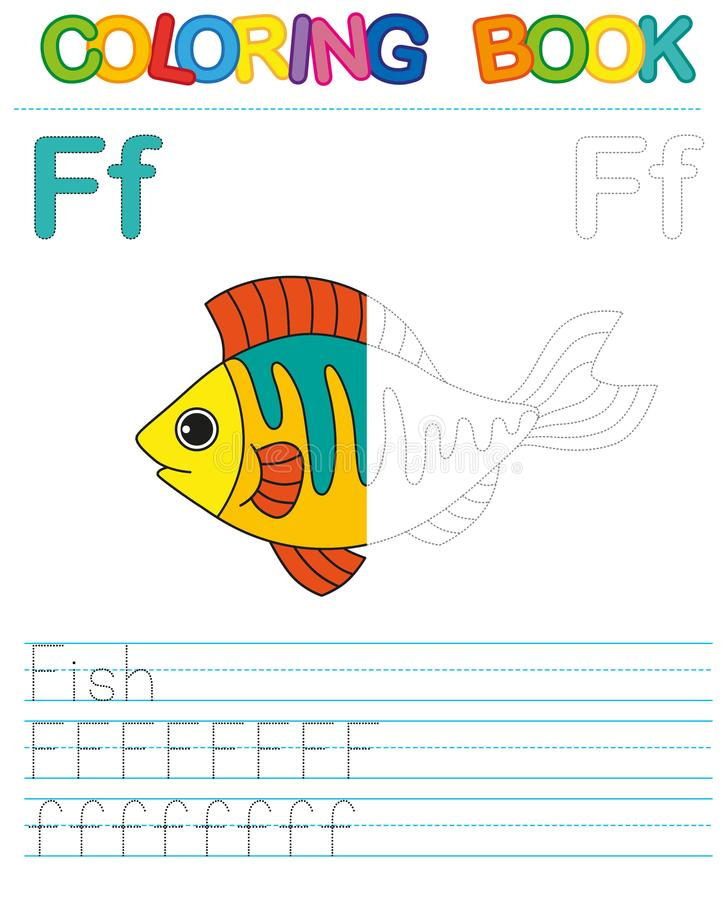 Vector coloring book alphabet. Restore dashed line and color the picture. Letter F. Fish stock illustration