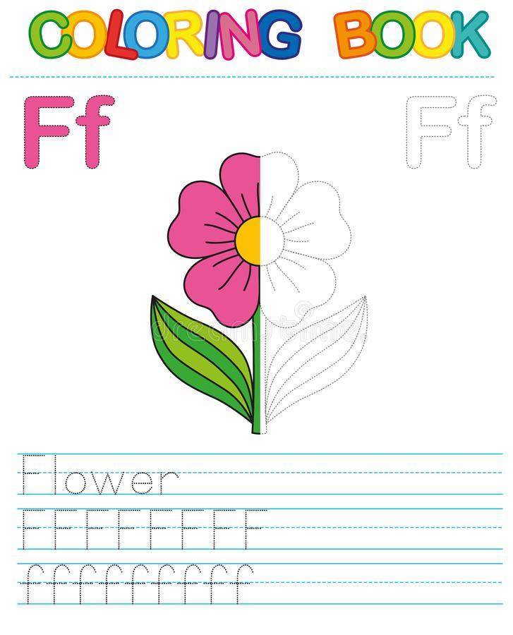 Vector coloring book alphabet. Restore dashed line and color the picture. Letter F. Flower vector illustration
