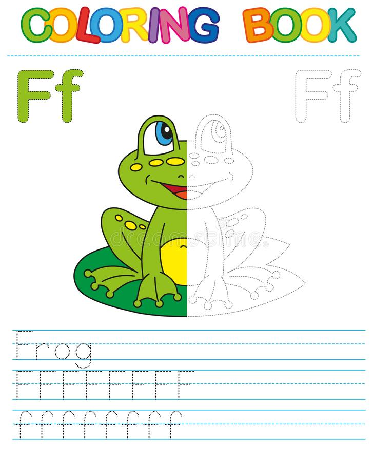 Vector coloring book alphabet. Restore dashed line and color the picture. Letter F. Frog stock illustration