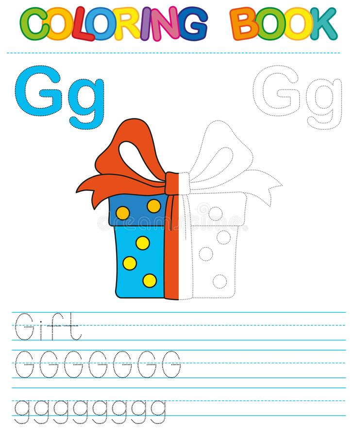 Vector coloring book alphabet. Restore dashed line and color the picture. Letter G. Gift. Vector coloring book alphabet. Educational game for kid. Simple level stock illustration