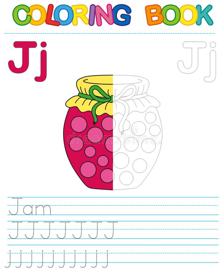 Vector coloring book alphabet. Restore dashed line and color the picture. Letter J. Jam royalty free illustration