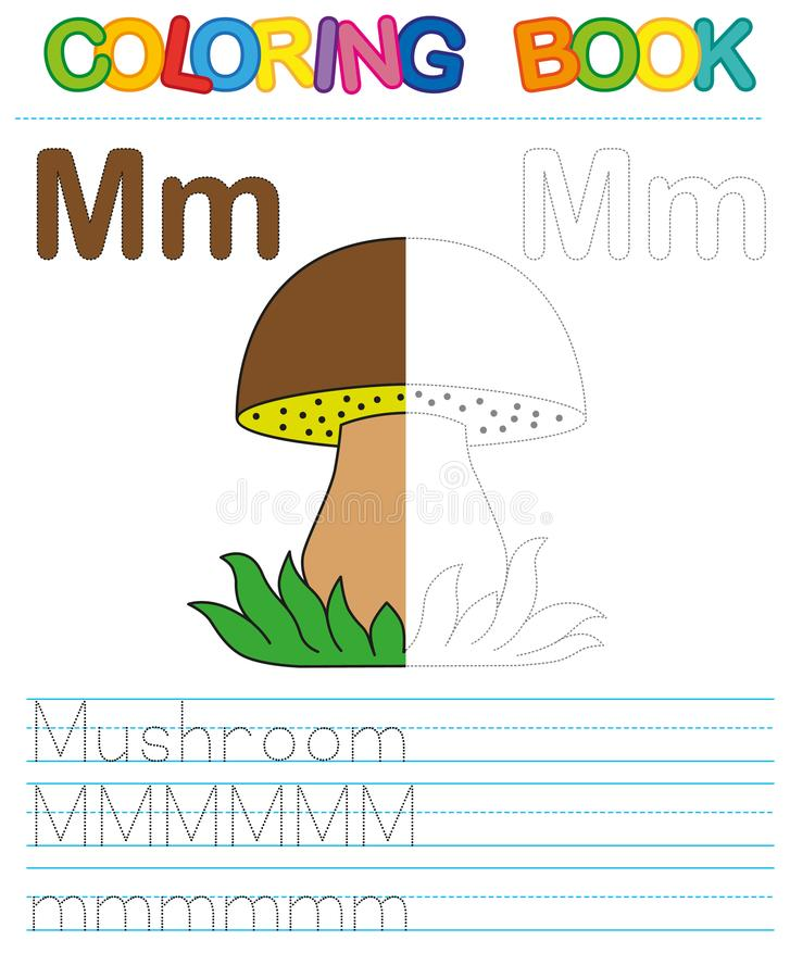 Vector coloring book alphabet. Restore dashed line and color the picture. Letter M. Mushroom royalty free illustration