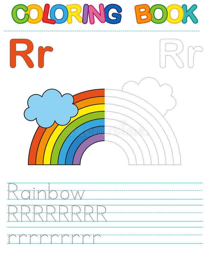 Vector coloring book alphabet. Restore dashed line and color the picture. Letter R. Rinebow. Vector coloring book alphabet. Educational game for kid. Simple vector illustration