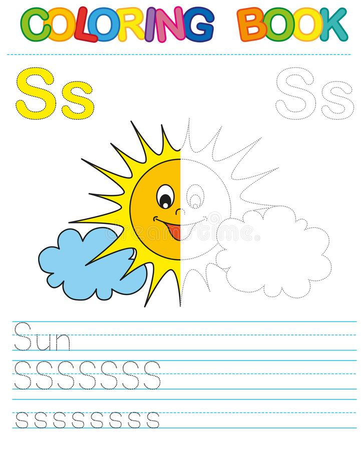 Vector coloring book alphabet. Restore dashed line and color the picture. Letter S. Sun. Vector coloring book alphabet. Educational game for kid. Simple level of stock illustration