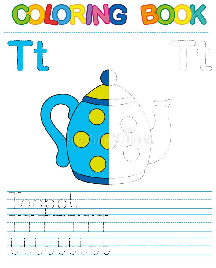 Vector coloring book alphabet. Restore dashed line and color the picture. Letter T. Teapot. Vector coloring book alphabet. Educational game for kid. Simple level vector illustration