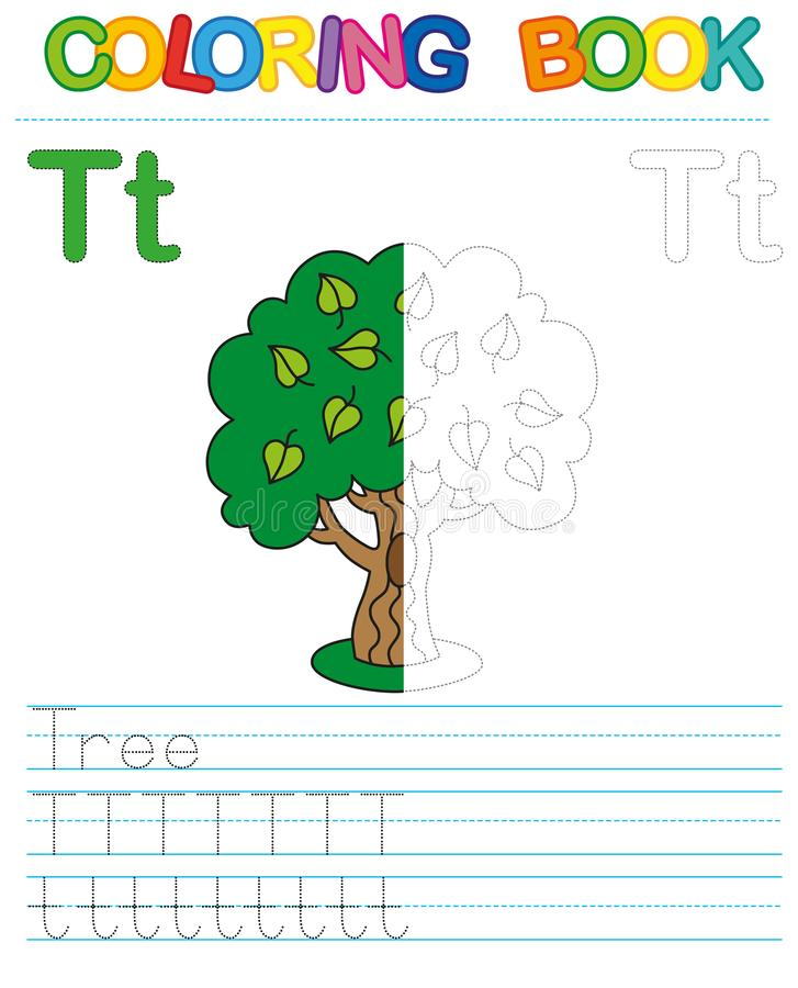 Vector coloring book alphabet. Restore dashed line and color the picture. Letter T. Tree vector illustration