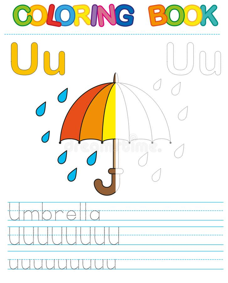 Vector coloring book alphabet. Restore dashed line and color the picture. Letter U. Umbrella vector illustration