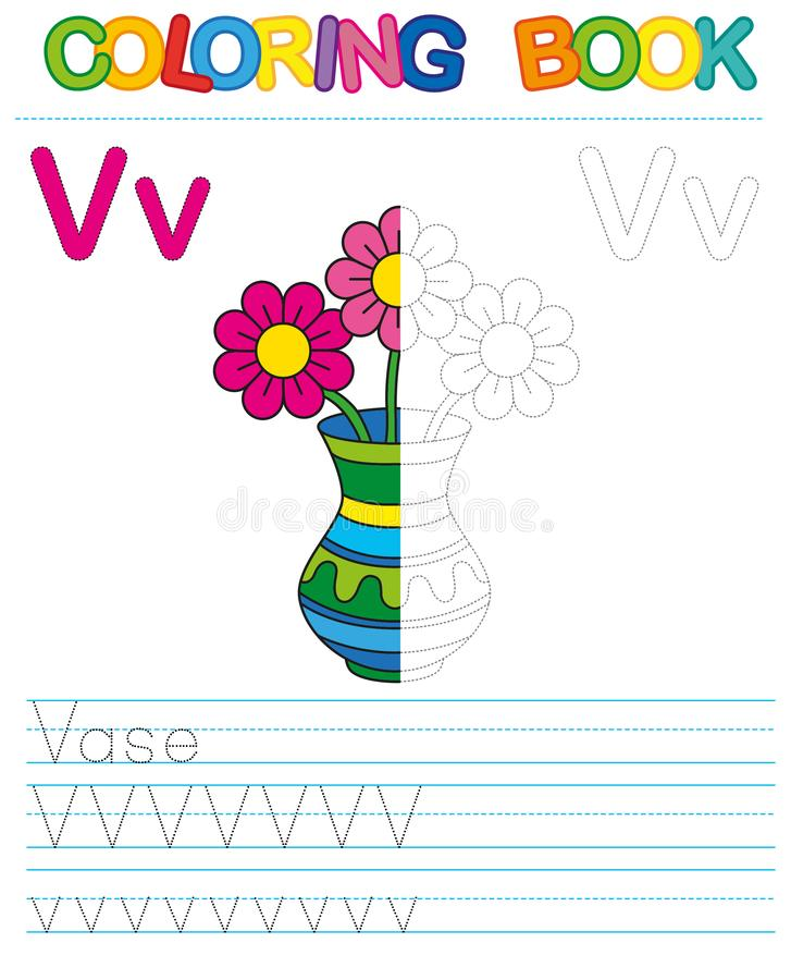 Vector coloring book alphabet. Restore dashed line and color the picture. Letter V. Vase vector illustration