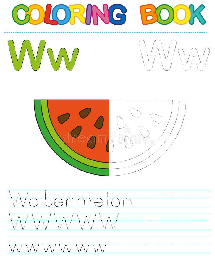 Vector coloring book alphabet. Restore dashed line and color the picture. Letter W. Watermelon vector illustration