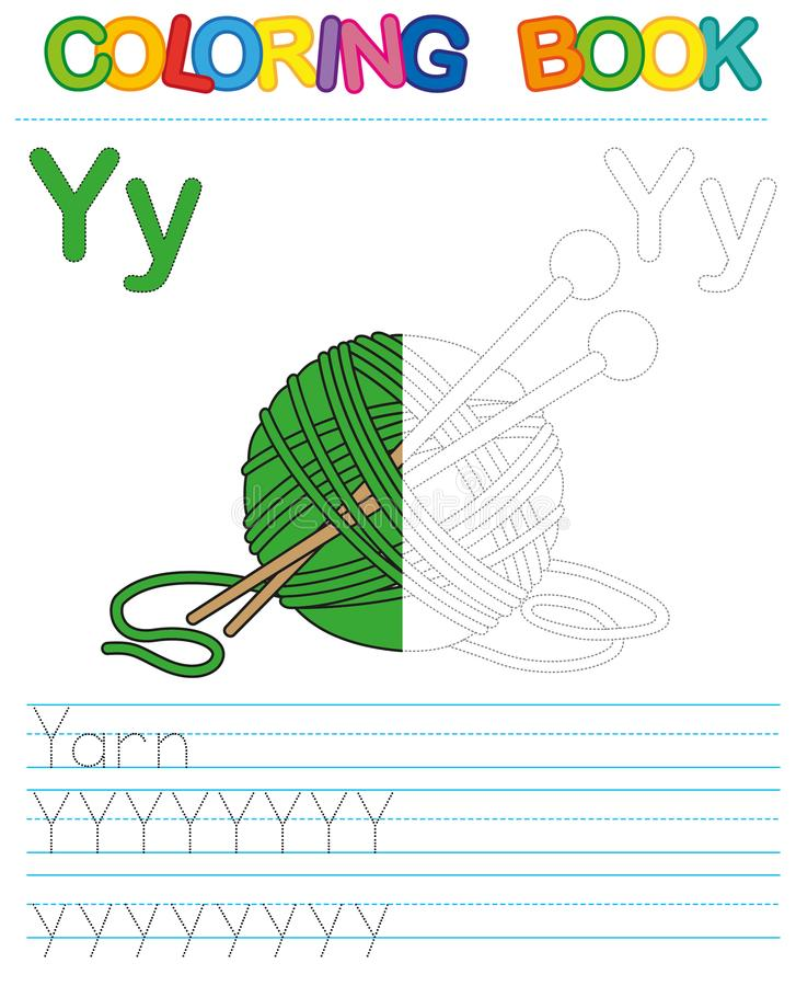Vector coloring book alphabet. Restore dashed line and color the picture. Letter Y. Yarn. Vector coloring book alphabet. Educational game for kid. Simple level vector illustration