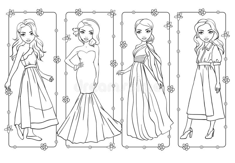 Coloring Book Of Girls In Romantic Spring Dresses Stock Vector