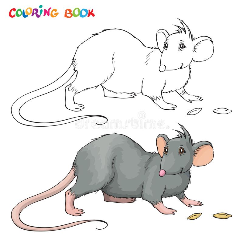Vector Coloring book for children with rat. royalty free illustration