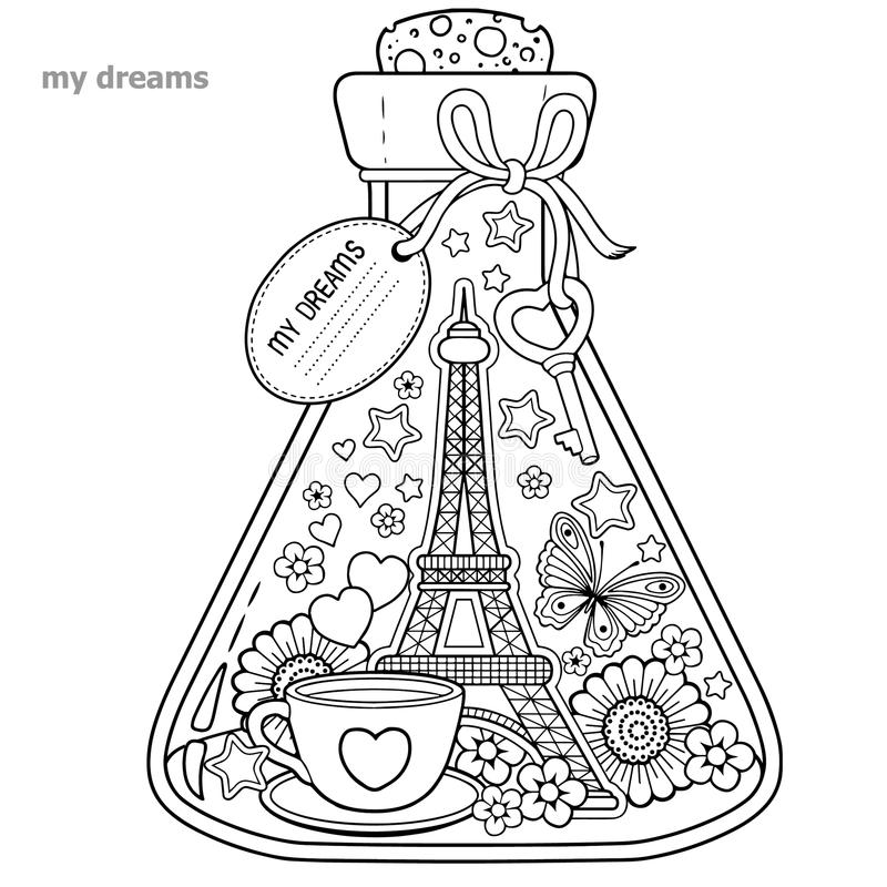 Free Vector Coloring Book For Adults. A Glass Vessel With Dreams Of Traveling To Paris.A Bottle With Butterfly, Ladybug, Leaves, Cup Of Royalty Free Stock Photos - 100176838