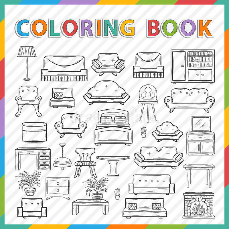 Vector coloring book.Home interior royalty free illustration