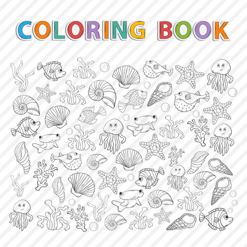 Vector Coloring Book.Marine Life Stock Vector - Image ...