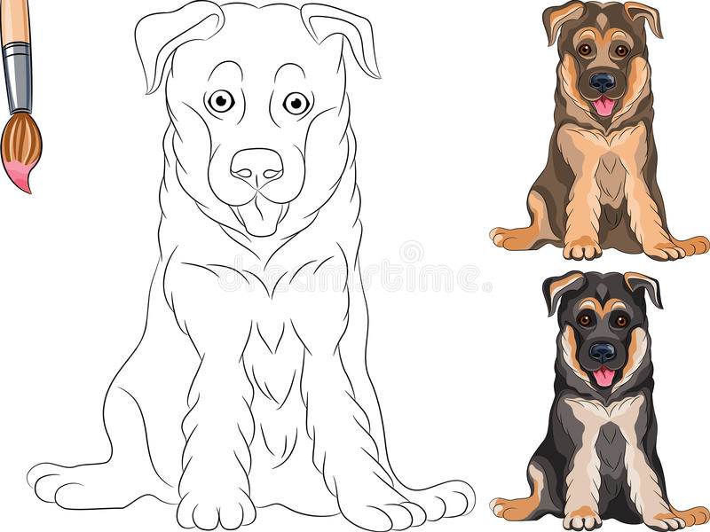 Download Vector Coloring Book Of Puppy Shepherd Stock Vector - Illustration of german, coloring: 27964101