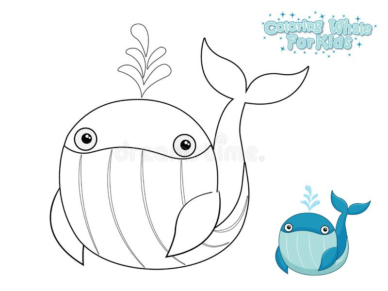 vector coloring cute cartoon whale educational game kids illustration style funny sea animal marine life