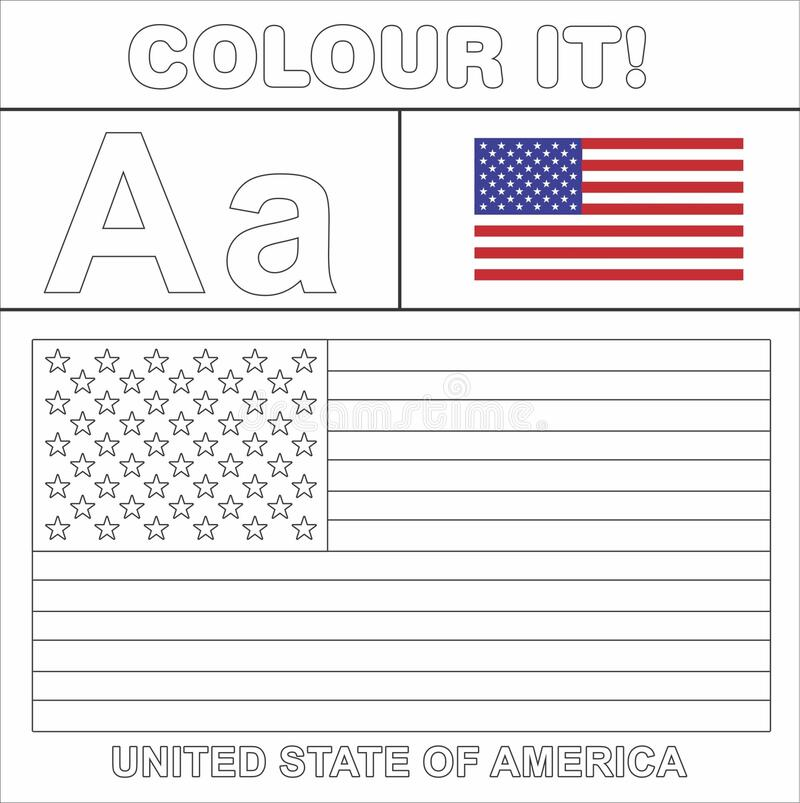 - Vector Coloring Page For Kids English Digit A A United State Of America Flag  Line Drawing Stock Illustration - Illustration Of Digit, Page: 172325202