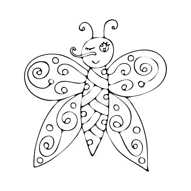 vector coloring page outline cartoon butterfly book kids