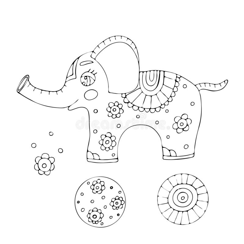 Vector coloring page outline of cartoon elephant coloring book for kids. Elephant coloring royalty free illustration